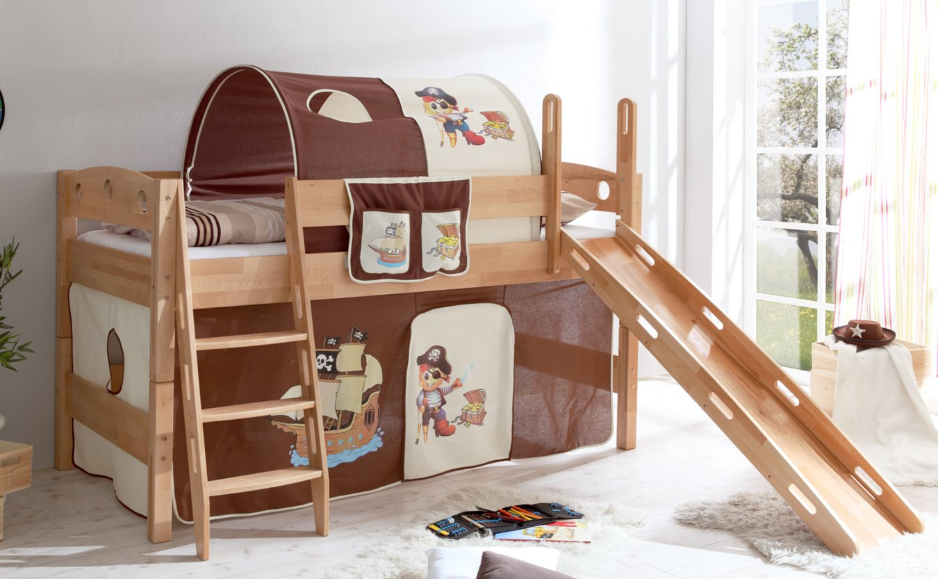 sicheres kinderhochbett massiver buche mit piratenmotiv. Black Bedroom Furniture Sets. Home Design Ideas