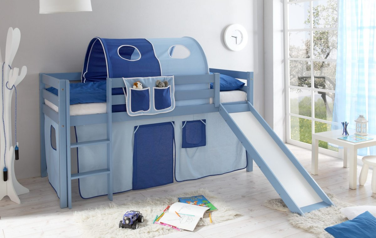 blaues kinder hochbett manuel sicheres kinderhochbett aus kiefer massiv hellblau lackiert mit. Black Bedroom Furniture Sets. Home Design Ideas