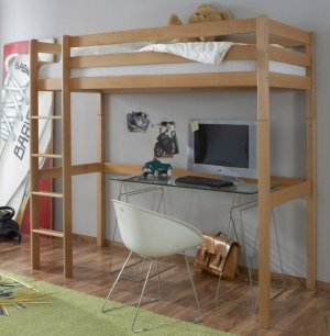 modernes und robustes massivholz hochbett f r kinder und jugendliche. Black Bedroom Furniture Sets. Home Design Ideas